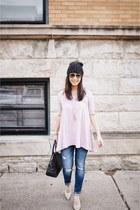 light pink Forever 21 top - Zara jeans - black Target hat