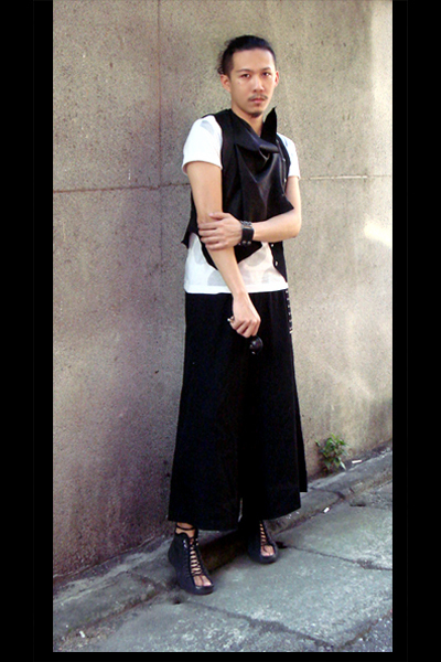 Comme des Garcons t-shirt - Just In Case vest - Comme des Garcons skirt - Just I