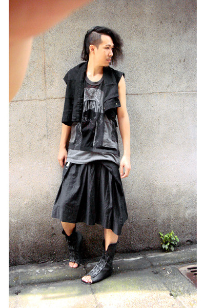 raf by raf simons vest - Junya Watanabe t-shirt - YAB-YUM skirt - Just In Case s
