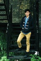 navy Topman jumper - blue unknown shirt - mustard unknown pants - dark gray shoe