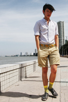 gray Club Monaco shirt - beige steven alan shorts - gold Zara belt - yellow Zara