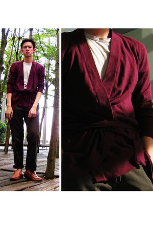 purple Topman cardigan - beige t-shirt - brown Massimo Dutti pants - brown