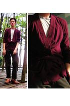 purple Topman cardigan - beige t-shirt - brown Massimo Dutti pants - brown