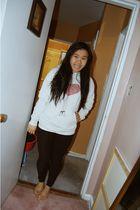 faddbf83510 white Threadless sweater - black adidas leggings