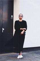 black asos bag - black quay sunglasses - black costes jumper