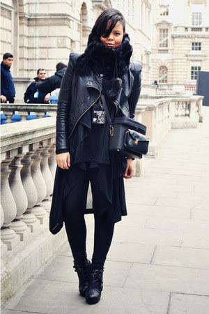 black vintage bag - black Nellycom boots - black ohmyfrock jacket