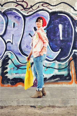 bubble gum asoscom jacket - tan Isabel Marant boots - blue REPLAY jeans