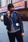 Navy-levis-jacket-black-striped-comme-des-garcons-sweater