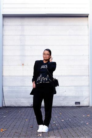 black Adidas shirt - black Vanilia blazer - black Nelly bag - black asos pants