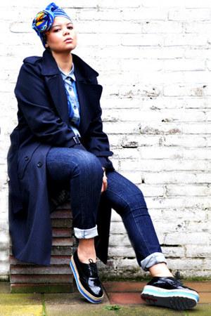 blue vintage scarf - black ArrogantMinnie shoes - navy vintage coat
