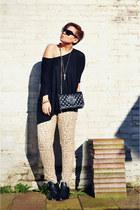 black Arrogant Minnie boots - camel Newlook jeans - black asos sunglasses