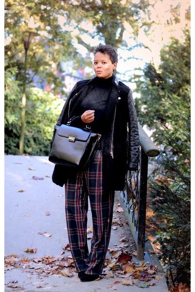 red vintage pants - black Zara coat - black Zara bag - black H&M jumper