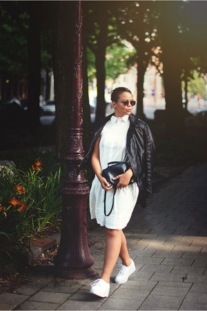 white Front Row Shop shoes - white Boohoo dress - black caroline blomst jacket