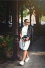 White-front-row-shop-shoes-white-boohoo-dress-black-caroline-blomst-jacket
