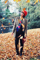 red Hema hat - olive green Mango coat - black Levis jeans - navy vintage jacket
