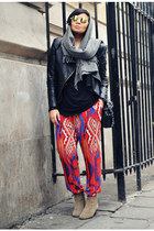 red Zara pants - beige Isabel Marant boots - black ohmyfrock jacket