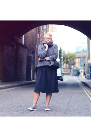 black asos dress - black Nelly bag - charcoal gray wehkamp jumper