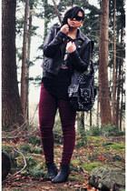 black Zara bag - black Sacha boots - crimson Forever21 jeans - black asos jacket