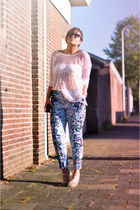 light blue asos pants - black asos sunglasses - white H&M top