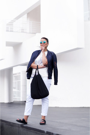 navy H&M jacket - off white acne top - black Birkenstock flats