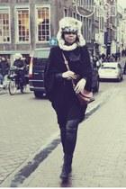 black Zara boots - camel vintage hat - black ih my frock jacket - black H&M legg