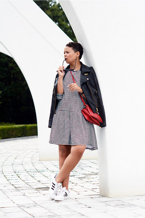 asos jacket - asos dress - Forever 21 bag - Adidas sneakers