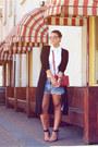 Red-forever-21-bag-blue-levis-shorts-black-vila-cardigan-white-vintage-top