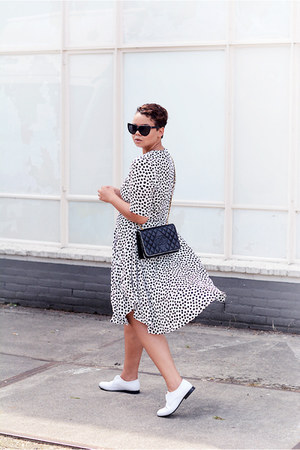 black H&M Trend dress - white Charlie May shoes - black Chanel bag