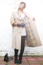 beige Burberry jacket - black H&M leggings - black Newlook shoes - silver asos d