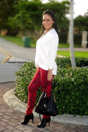Michael Kors blouse - Bisou Bisou leggings - leather Michael Kors bag