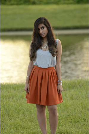 orange Zara skirt - grey cotton H&ampM top