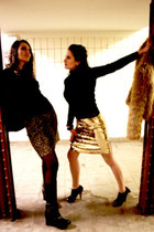 black wedge boots - camel fake fur jacket - black sequine blazer - gold vintage
