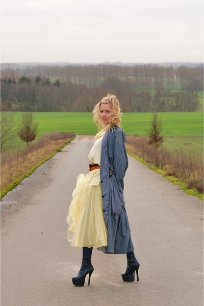 cream vintage blouse - black modern platform boots - light yellow vintage dress