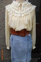 vintage 70s blouse - italian vintage 80s stonewashed skirt - 80s belt