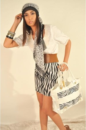 white JUZ FUR K top - JUZ FUR K bag - JUZ FUR K skirt