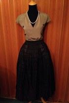 tan handmade blouse - black handmade skirt - off white thrift necklace
