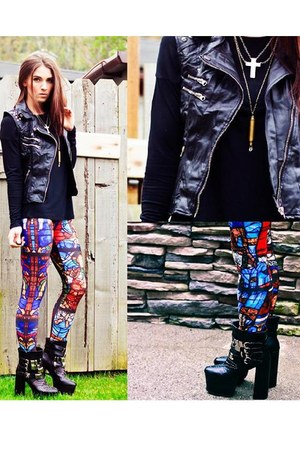 black Spy Love Buy boots - romwe leggings - black Forever 21 vest