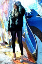 light blue hologram H&M hat - black faux fur Sheinsidecom coat