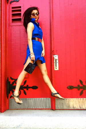 blue asos dress - black black wristlet Aldo bag - black Bamboo sandals