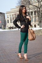 black Mango sweater - dark green H&M pants - brown leopard print rainbow heels