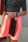 Black-black-wristlet-aldo-bag-salmon-luluscom-skirt-black-zara-flats