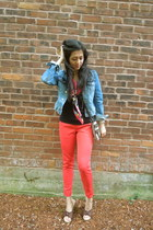 red H&M scarf - navy denim jacket H&M jacket