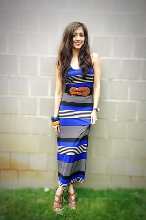 black Forever 21 belt - blue maxi dress Bella Lulu dress