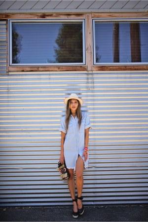 sky blue hidden jean dress