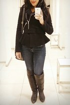 black Zara coat - black Lucky Brand boots