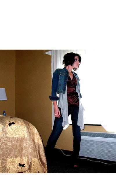 Express top - vintage jacket - banana republic sweater