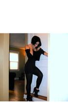 black H&M top - black Forever 21 cardigan - black Forever 21 leggings - black Ur
