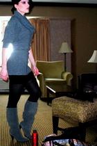gray penny loves kenny boots - black Express skirt - gray random sweater - black