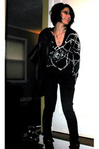 black random sweater - black The Limited pants - black nicole miller jacket - bl