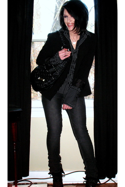 black The Limited blazer - black merona blouse - gray paris blue jeans